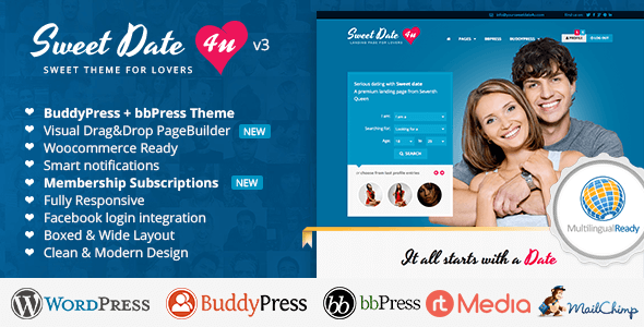 Sweet Date v3.6.0 – More than a WordPress Dating Theme