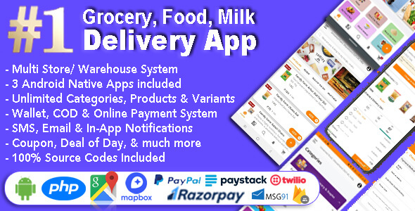 Grocery and Vegetable Delivery Android App with Admin Panel v1.6.7 – Multi-Store with 3 Apps – nulled
