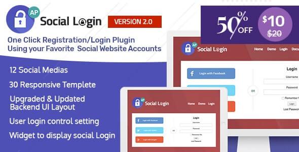 Social Login WordPress Plugin v2.0.5 – AccessPress Social Login